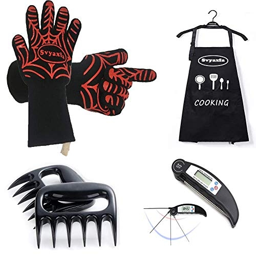 BBQ Gloves a Pair Meat Thermometer Apron and Meat Shredder Claws 4 in 1